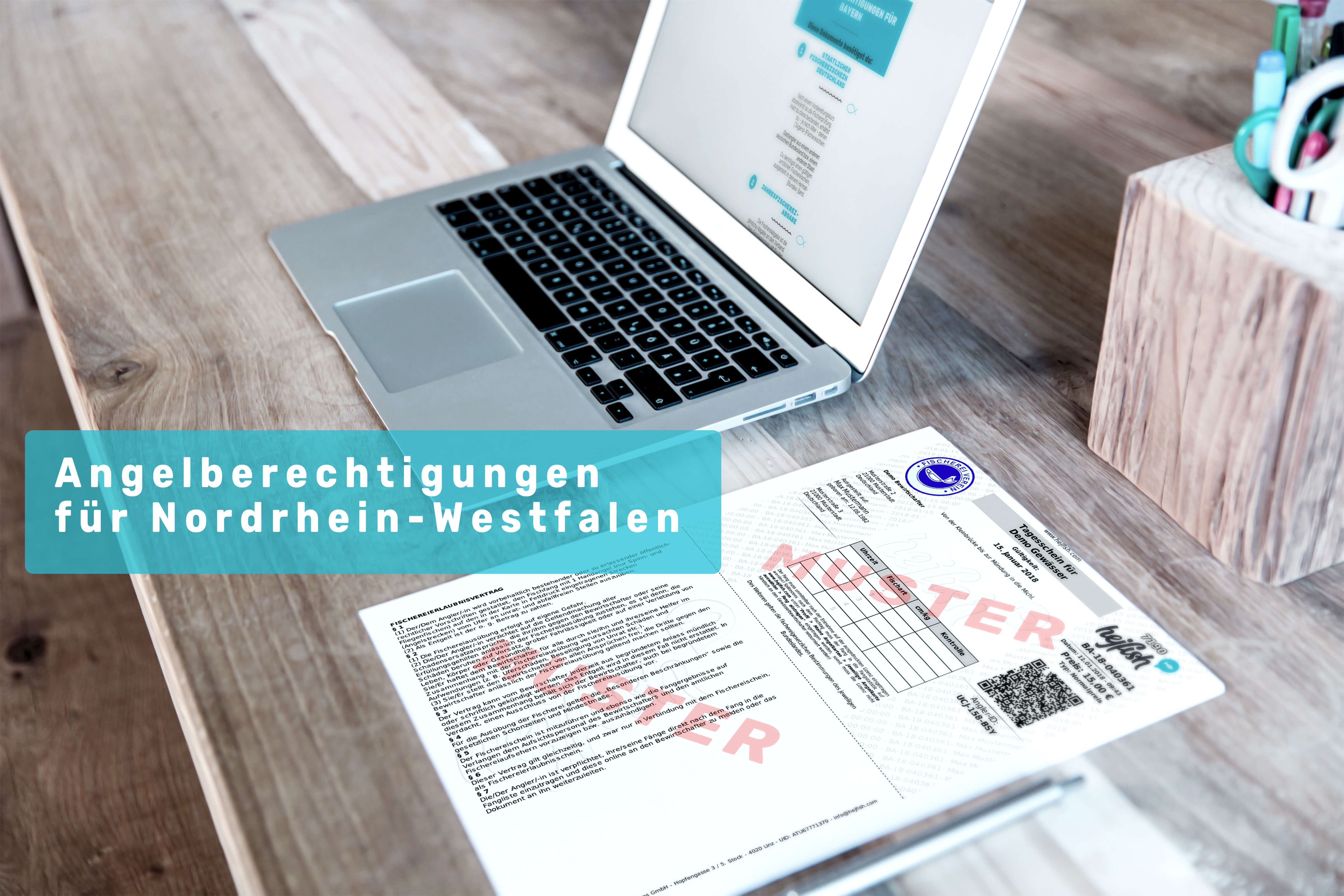 """Laptop und Schreibtisch mit Balken""""Angelberechtigungen Nordrhein Westfalen"""""""
