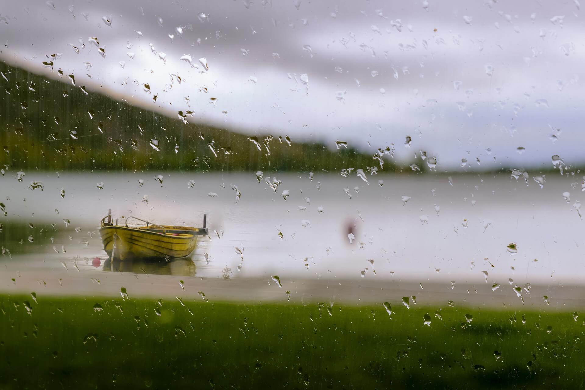 boot im regen