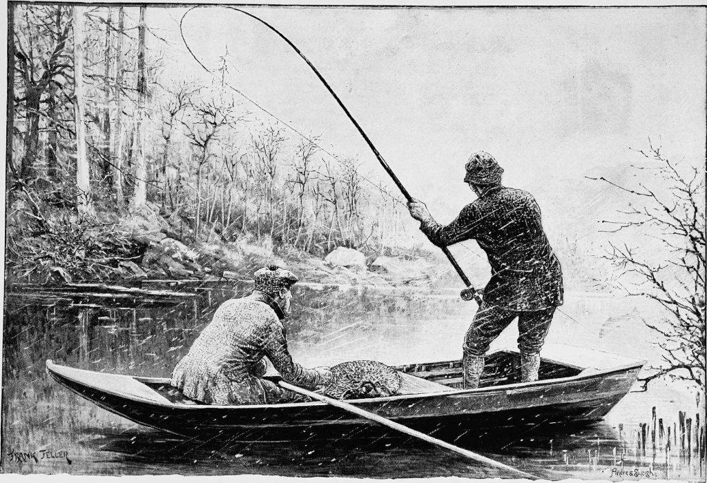 Historisches Bild von zwei Anglern auf einem Boot