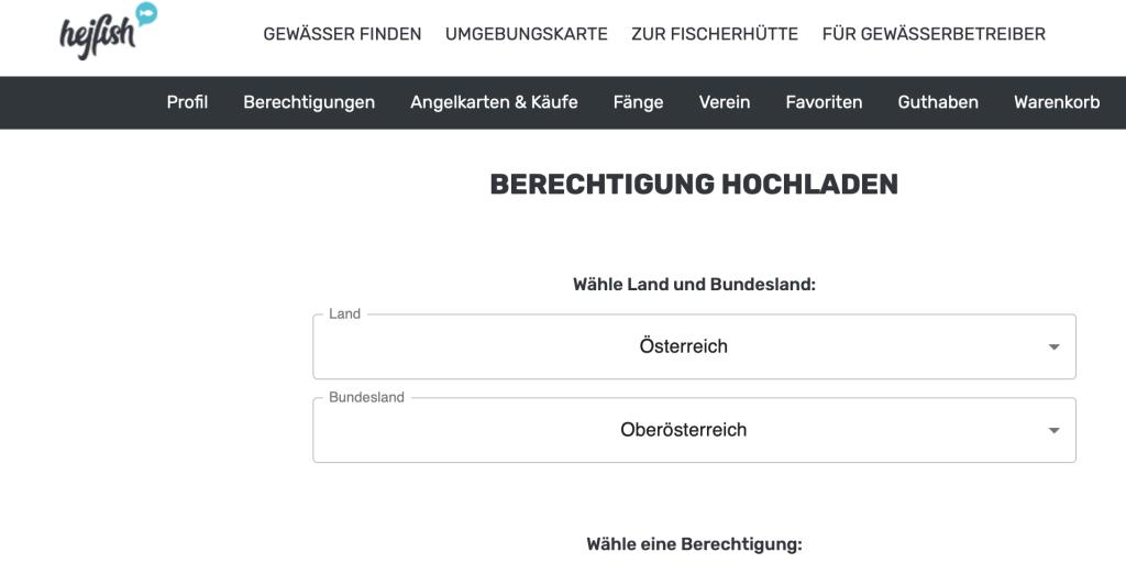 hejfish.com Menü zum Hochladen von Berechtigungen
