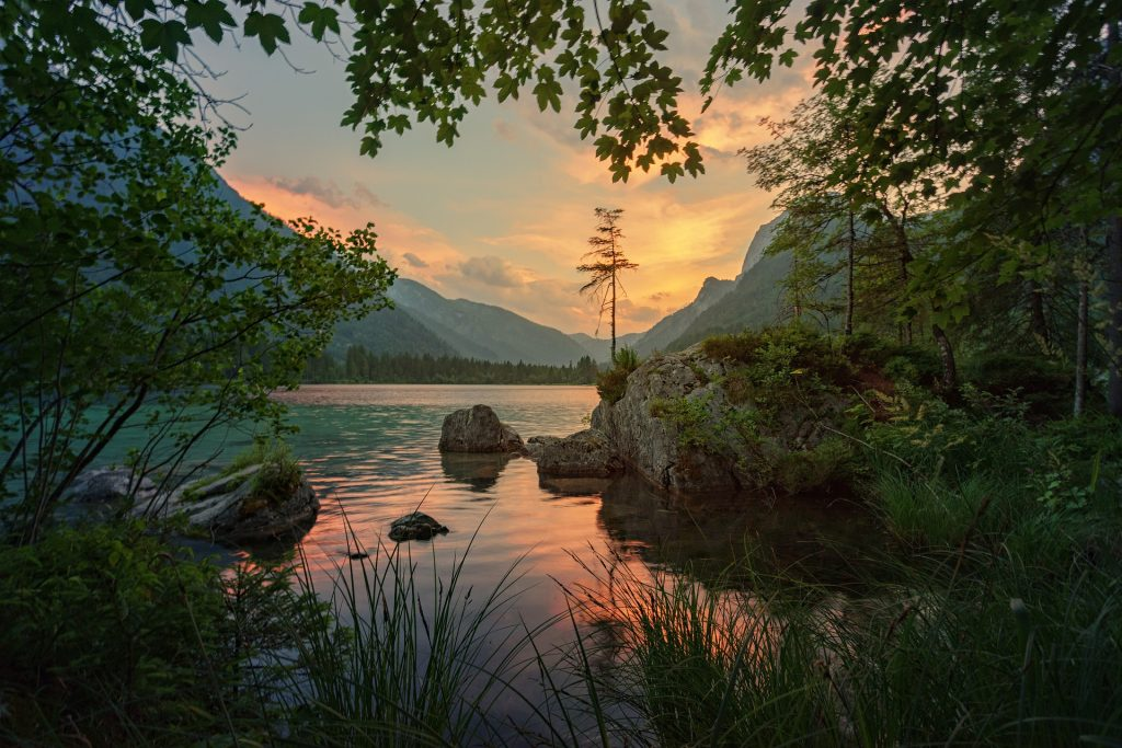 Wunderschöner natürlicher Blick auf einen See