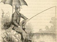 Zeichnung aus The American angler's book 1864 zeigt Angler am See mit Rute, Schnur und Haken.